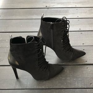 Zara black ankle lace up high heel booties